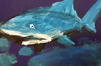 painting of a shark