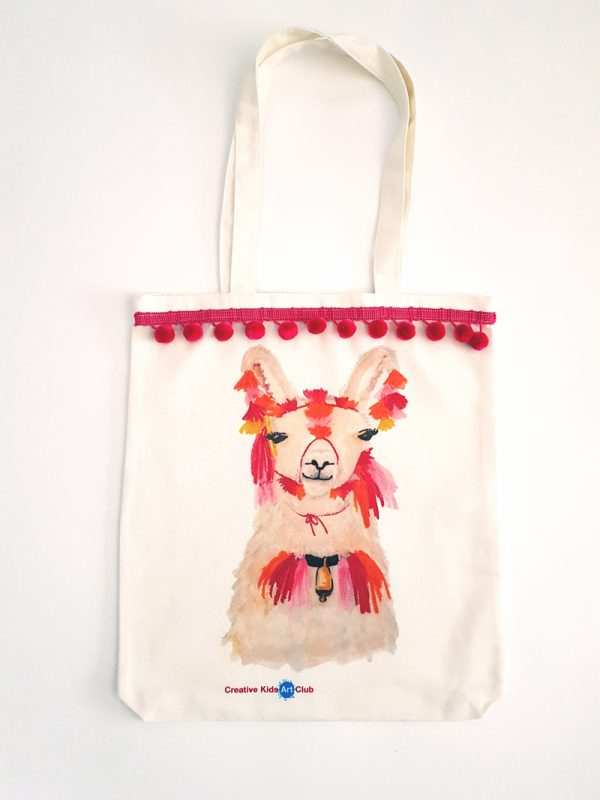 Llama Bag with Hot Pink Pom Poms