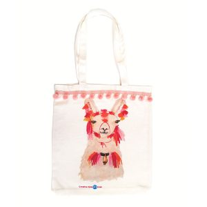 Llama Bag with Soft Pink Pom Poms