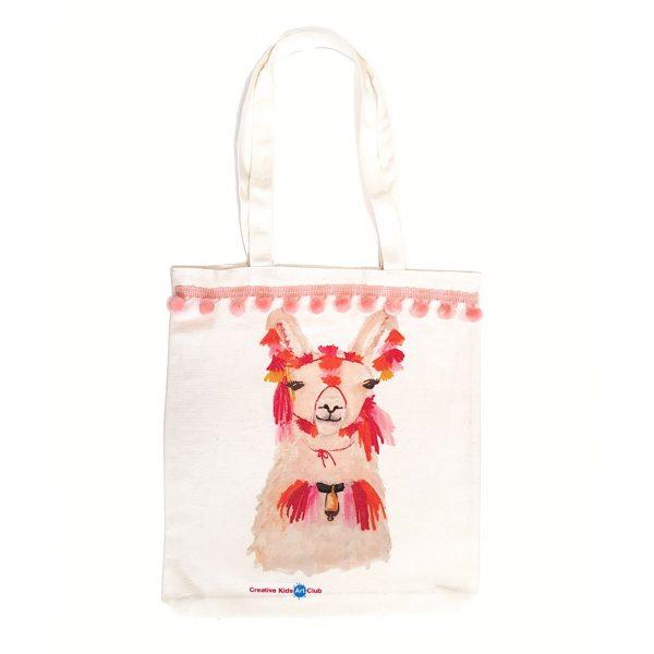Llama Bag with Soft Pink Pom Poms